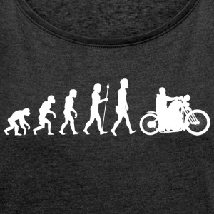 Evolution / motorcycle / motorcyclist / biker / bike - Women's T-shirt with rolled up sleeves