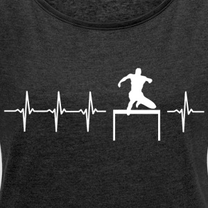 I love hurdling (BMX hurdles) - Women's T-shirt with rolled up sleeves