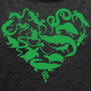 Reptiles / Heart / snakes / lizards / turtles - Women's T-shirt with rolled up sleeves