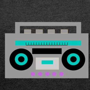 boombox - Women's T-shirt with rolled up sleeves