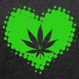 I Love Cannabis - Marijuana THC CBD Weed - Women's T-shirt with rolled up sleeves