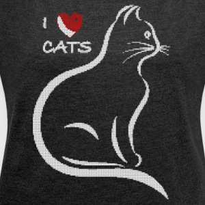 I love cats. Stitched design. - Women's T-shirt with rolled up sleeves