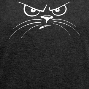 Cat face evil cat cats - Women's T-shirt with rolled up sleeves