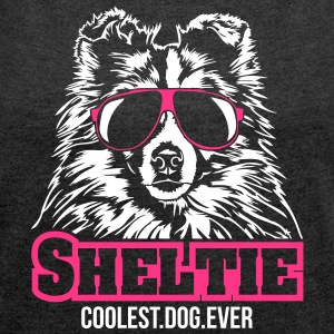 SHELTIE coolest dog - Women's T-shirt with rolled up sleeves