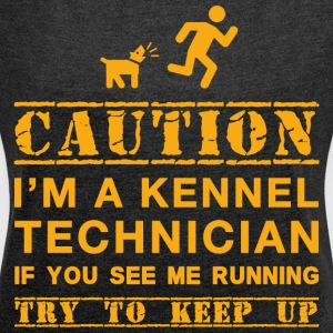 Attention Kennel Technicien - T-shirt Femme à manches retroussées