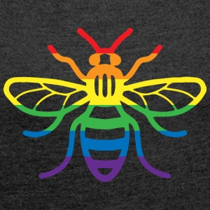 Gay Pride Bee - Women's T-shirt with rolled up sleeves