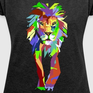 Lion Pop Art - Women's T-shirt with rolled up sleeves