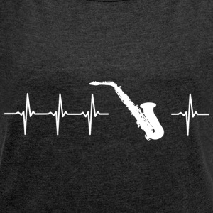I love Sax (saxophone heartbeat) - Women's T-shirt with rolled up sleeves