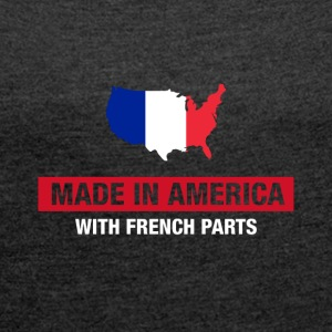 Made In America Med fransk Deler France Flag - T-skjorte med rulleermer for kvinner