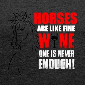 Horses Wine - Women's T-shirt with rolled up sleeves