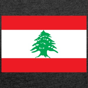 National Flag Of Lebanon - Women's T-shirt with rolled up sleeves