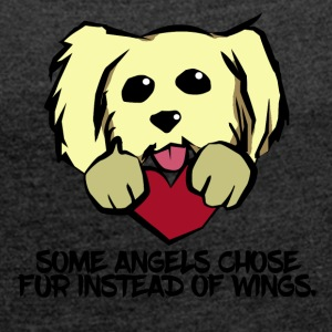 Angels in Fur - Dog Love - Frauen T-Shirt mit gerollten Ärmeln