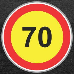 Road Sign 70 yellow - Women's T-shirt with rolled up sleeves