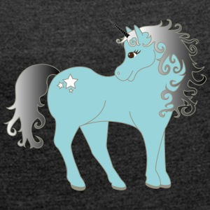 blue Unicorn - Women's T-shirt with rolled up sleeves