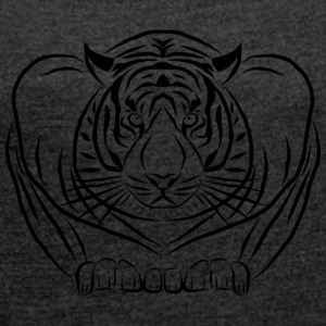 tiger wild cat cat - Women's T-shirt with rolled up sleeves