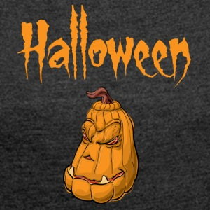 Halloween pumpkin - Women's T-shirt with rolled up sleeves