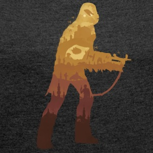 Chewbacca Silhouette - Dame T-shirt med rulleærmer