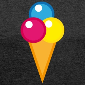 Ice Waffle Ice Cream - Women's T-shirt with rolled up sleeves