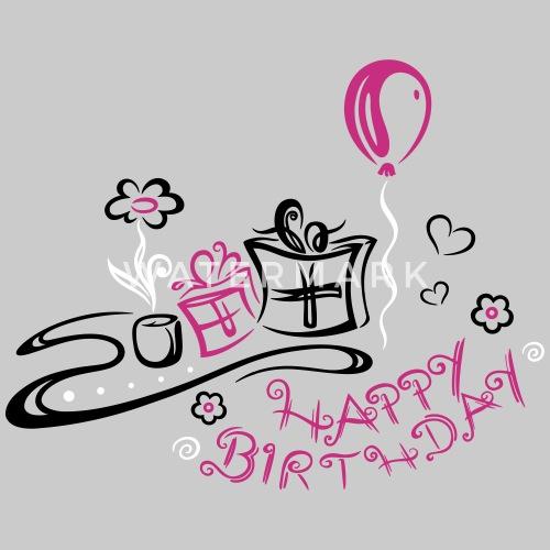 Geburtstag Happy Birthday Frauen T Shirt Mit Gerollten ärmeln