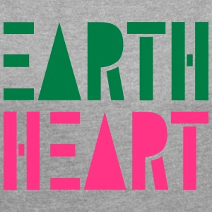 Earth Heart in Geometric Shapes, - Women's T-shirt with rolled up sleeves