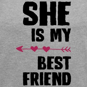 She is my best friend Right - Women's T-shirt with rolled up sleeves