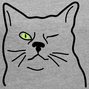 wink cat - Women's T-shirt with rolled up sleeves