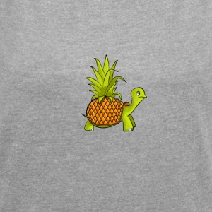 pineapple turtle - Women's T-shirt with rolled up sleeves