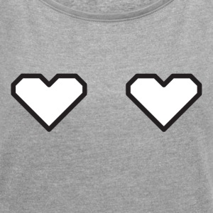 Heart & Titties - Women's T-shirt with rolled up sleeves