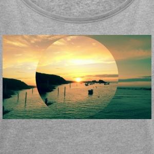 Sunset Bude, Cornwall - Women's T-shirt with rolled up sleeves