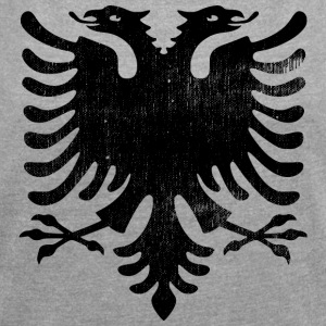 Albanian flag vintage - Women's T-shirt with rolled up sleeves