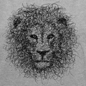 Lion Scribble - Women's T-shirt with rolled up sleeves