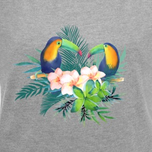 Toucan Tropical Floral - Women's T-shirt with rolled up sleeves