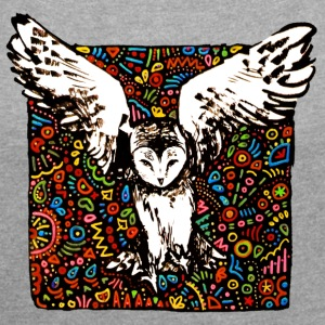tribal owl - Women's T-shirt with rolled up sleeves