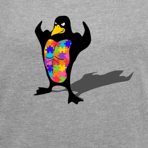Penguin autism - Women's T-shirt with rolled up sleeves