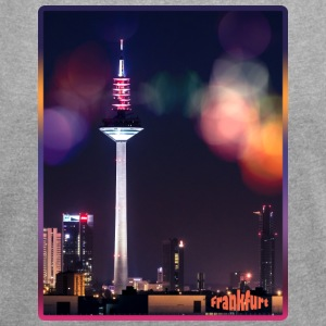 Frankfurt skyline with bokeh - Women's T-shirt with rolled up sleeves