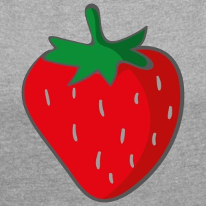 strawberry - Women's T-shirt with rolled up sleeves