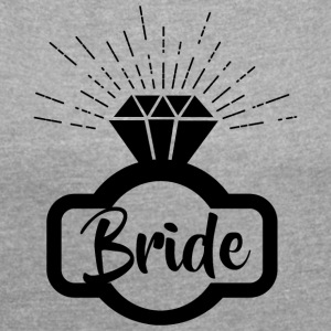 Bride bride black 1c - Women's T-shirt with rolled up sleeves