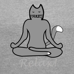 Relax Yoga Cat - Women's T-shirt with rolled up sleeves