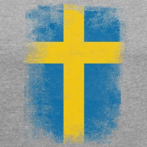 Sweden Flag Proud Swedish Vintage Distressed Shirt - T-shirt med upprullade ärmar dam