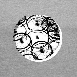 bike circle cycling cool design style spokes Karst - Women's T-shirt with rolled up sleeves
