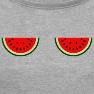 watermelon - Women's T-shirt with rolled up sleeves