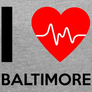 I Love Baltimore - I Love Baltimore - T-skjorte med rulleermer for kvinner
