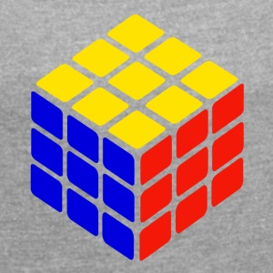 blue yellow red rubik's cube print - Women's T-shirt with rolled up sleeves
