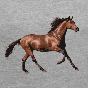 Horse love - Women's T-shirt with rolled up sleeves