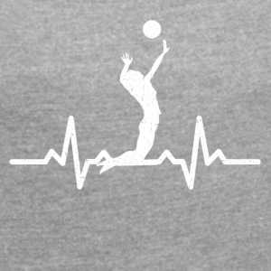 My heart beats for Volleyball - Women's T-shirt with rolled up sleeves