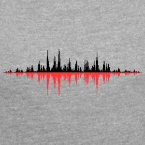 Red Sound Wave - Dame T-shirt med rulleærmer