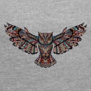owl - Women's T-shirt with rolled up sleeves