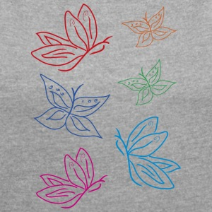 butterflies - Women's T-shirt with rolled up sleeves