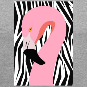 crossover Flamingo - Women's T-shirt with rolled up sleeves