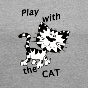 Play_Cat_Black1 - Women's T-shirt with rolled up sleeves